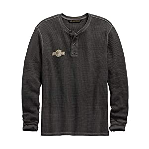 HARLEY-DAVIDSON Official Men's Washed Waffle Knit Slim Fit Henley, Grey