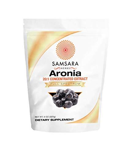 Samsara Herbs Aronia Extract Powder 20:1 Concentration (8oz/227g) - Immunity, Circulation, Antioxidants, Anti-inflammatory Supplements