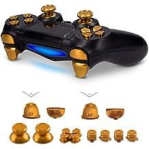 [Patrocinado] kwmobile Controller Button Replacement Set - For Playstation 4 Controller CUH-ZCT1 - Custom Aluminum Metal Repair Parts - Gold