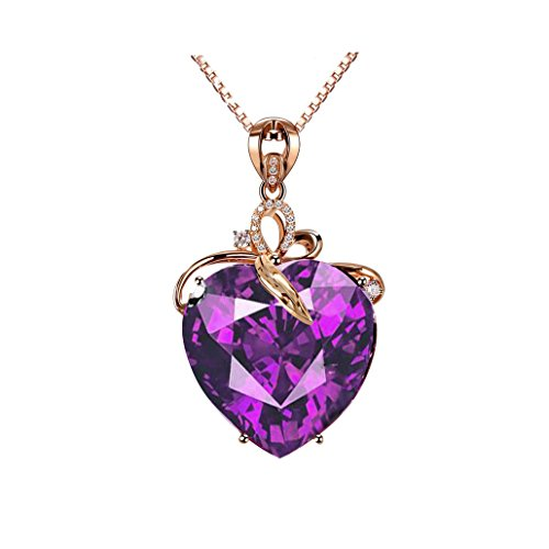 Uloveido Women's Valentine's Day Purple Heart Love Necklace with Cubic Zirconia Amethyst Necklace Fashion Jewelry Gifts for Girls Gold Plated Chain Wrapped Natural Stone Crystal Drop Pendant DN372 (3 Stone Purple Pendant)