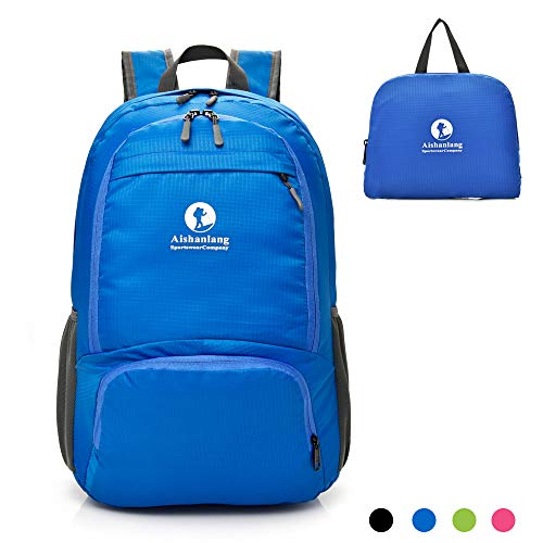 (Lightweight Packable Sports Hiking Daypack Backpack - Water Resistant Rucksack with Pouch for Women & Men - 30L Blue Waterproof Foldable Bagpack Knapsack for Climbing Camping Cycling Biking)