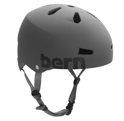 Bern Macon Water Matte Helmet with Distressed Logo (Grey, X-Large)