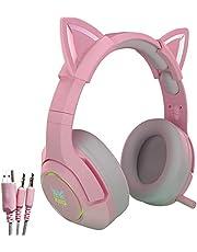 Różowy zestaw słuchawkowy do gier z chowanym mikrofonem, słuchawki z kocimi uszami ze światłem LED, 7.1 stereo dźwięk przestrzenny słuchawki do gier, do PS5, PS4, przełącznik (adapter nie jest dołączony), słuchawki nauszne dla dziewcząt kobiet