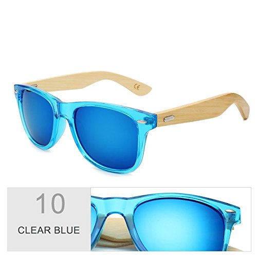 real madera color sol hombre gafas Clear el bambú sol espejo Multi por de de marrón Sunglasses mujer de de de TL Blue Gafas 0OSqS8