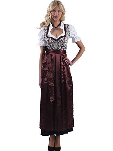 Alpenmärchen 3tlg. Dirndl-Set lang - Trachtenkleid, Bluse, Schürze, Gr. 42, braun - ALM746
