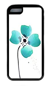 iPhone 5C Case, Personalized Protective Rubber Soft TPU Black Edge Case for iphone 5C - Four Green Petals Cover by Maris's Diary