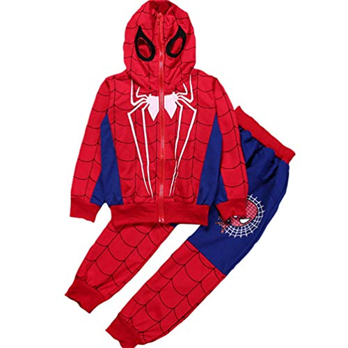 Rizoo Boys 2 Pieces Clothing Set Spiderman Hoodie with Pant Zip-up Sweatshirt for Boys Red-Blue 5 Years ()