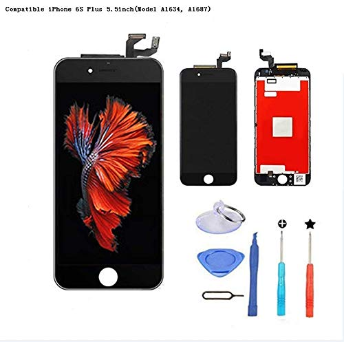 Premium Screen Replacement Compatible with iPhone Full Assembly -LCD Touch Digitizer Display Glass Assembly with Tools, Fit Compatible with iPhone (6S-Plus-Black)