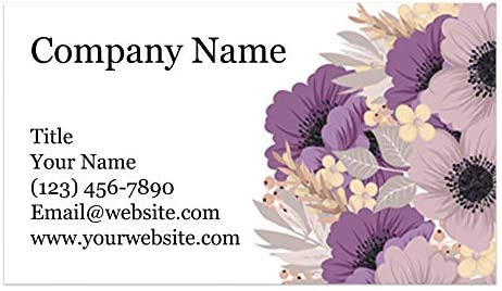 "Custom Printed Business Cards - Thick Sturdy Stock - 3.5"" x 2"" - 100% Made in the U.S.A. (Purple Floral, 100)"