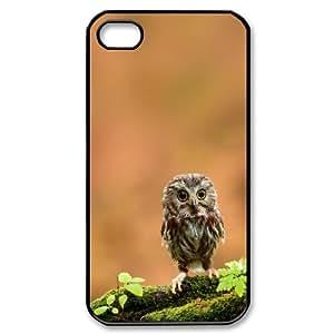 [Owl Series] IPhone 4/4s Cases Cute Baby Owl, Dustin - Black