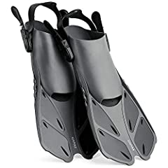 The Snorkeling Fins are specifically designed for swimming, snorkeling and diving trip. The fins feature soft, elastic heel straps with quick-release buckles, allowing you to easily put on and take off your fins, as well as make a quick one-t...