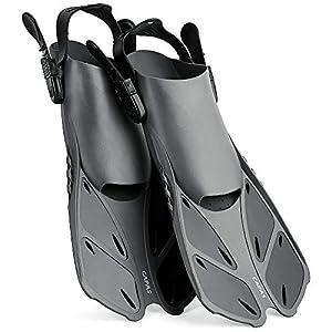 Well-Being-Matters 413U7or7SaL._SS300_ CAPAS Snorkel Fins, Swim Fins Travel Size Short Adjustable for Snorkeling Diving Adult Men Women Kids Open Heel Swimming…