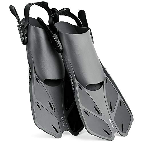 CAPAS Snorkel Fins, Snorkeling Fins Swim Fin Short Adjustable Diving Fins for Adult Men Womens Kids Scuba Diving Swimming Duck Feet Swim Travel Open Heel Flippers Snorkelling Fins (Black, L/XL)