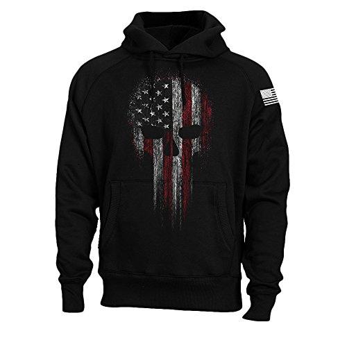 USA American Flag Skull Military Patriotic Men's Sweatshirt Hoodie (Black, M)