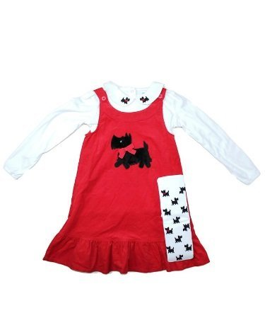 Scottie Dog Jumper Dress - GymboreeGirls 3-Piece Red Corduroy Jumper Dress with Tights and Top Set, Size 6