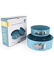 Awada Non-Stick Springform Round Cake Pan Set of 2-(6 Inch & 8 Inch) Leakproof Cheesecake Pan with Removable Bottom - Blue