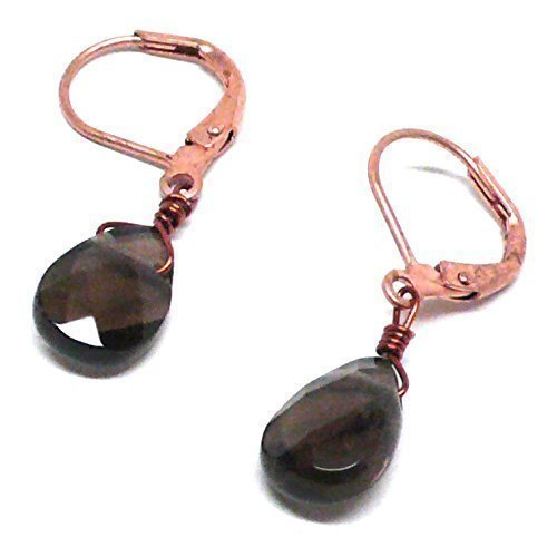 - Created Smoky Quartz Briolette Copper Gunmetal Lever Back Earrings Custom