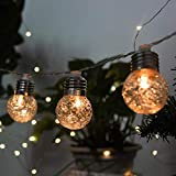 Yard Light String Led Solar Balls 3.8m Solar 10 LED Balls Fairy String Decorative Lights Battery Operated Christmas Outdoor Patio Garland Wedding Decoration