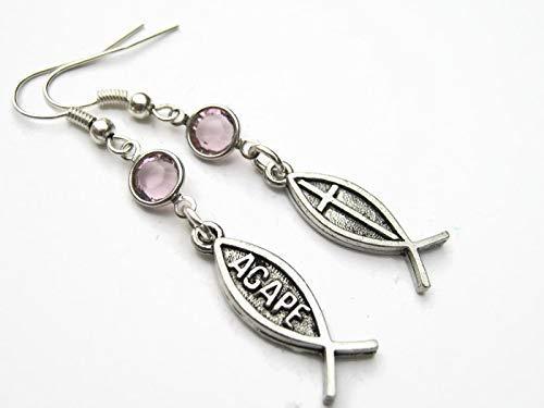 Amazon com: Christian Fish Birthstone Earrings, Personalized