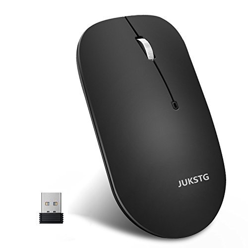 Wireless Mouse,JUKSTG Portable Silent Game Mice With Nano USB Receiver,2.4G Slim Wireless Mice,1600 DPI,3 Buttons,For PC,Laptop,Notebook,Computer and Mac,Vista,IOS,Maximum Comfortable,Black