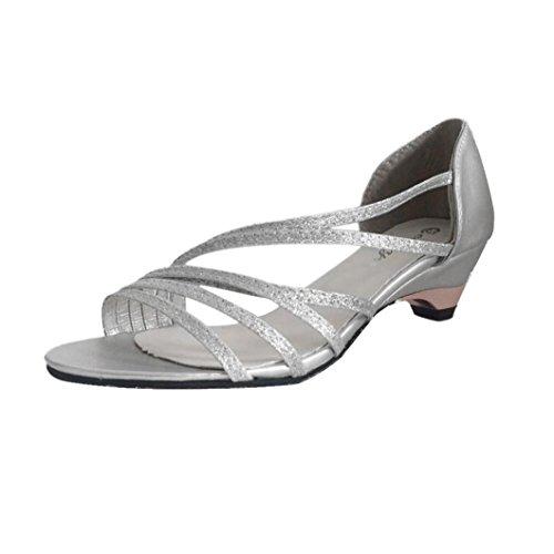 Summer Women Shoes Shoes Sandals Cutouts Fashion Beach Open Euone Silver Low Toe Wedges AqUa1xnEw8