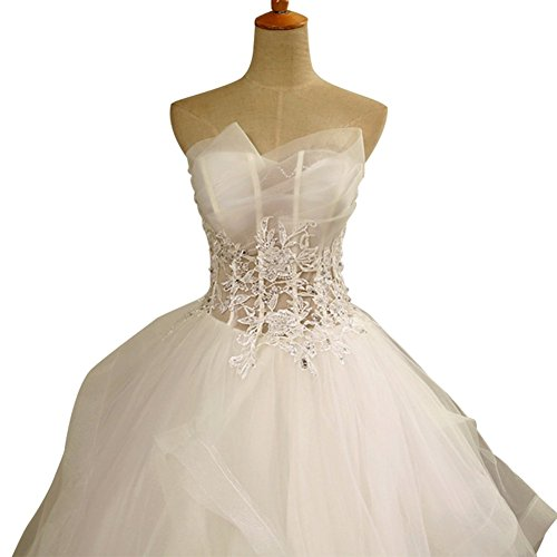 Bride Dress Lace See Through s Fuffly Women Drasawee Strapless Wedding BwzZ0Hq