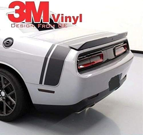 Band Challenger - 3M Film 2015-2018 Dodge Challenger Graphics Tail Band Scat Pack w/Spoiler Vinyl Decals (Kit with Wing/Spoiler Silver Metallic)