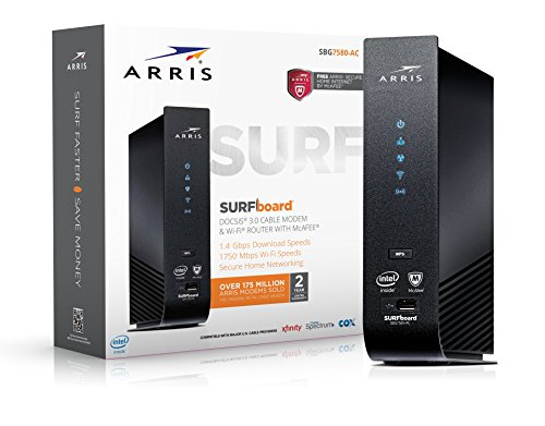 ARRIS SURFboard SBG7580AC-McAfee DOCSIS 3.0 Cable Modem / AC1750 Wi-Fi Router with FREE Secure Home Internet by McAfee - Retail Packaging, Black by ARRIS