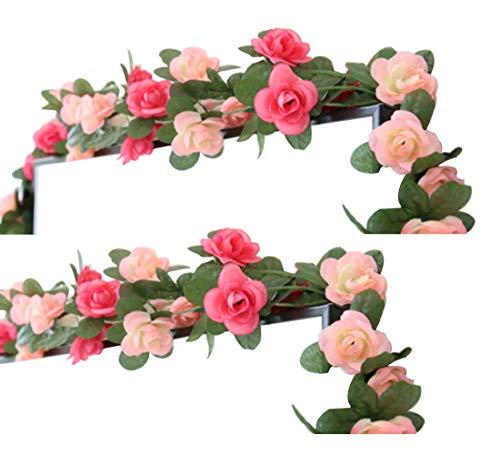 LumenTY 2 paquetes de flores artificiales de 2.5 m Vine Rose Garland Seda Flores falsas Decoracion colgante para Oficina del hotel Jardin Fiesta casera Boda Festival Decoracion - Rosa y rosa Claro