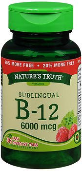 Nature's Truth Sublingual B-12 6000 mcg Fast Dissolve Tabs Natural Berry Flavor - 36 ct, Pack of 6 by Nature's Truth