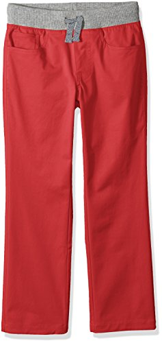 Amazon Brand - Spotted Zebra Boys' Big Kid Knit Waistband 5-Pocket Pants, Red, Large -