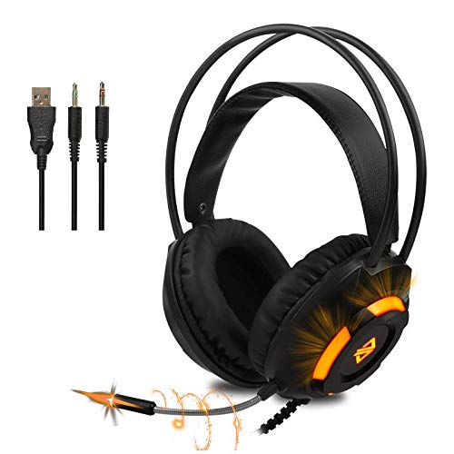 Ajazz AX120 Stereo Gaming Headset, Noise Cancelling Over Ear Headphones with Mic, Bass Surround, Orange LED Light, Soft Memory Earmuffs, for PS4 PC Xbox One Controller PC Laptop Mac Nintendo Switch