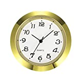 Mudder 1-7/16 Inch (36 mm) Clock Insert Fit Diameter 1-3/8 Inch (35 mm) Hole, Arabic Numerals (Gold Bezel)