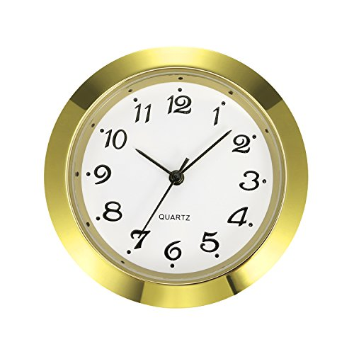 Pc Movement Round Dial (Mudder 1 - 7/ 16 Inch (36 mm) Clock Insert Fit Diameter 1 - 3/ 8 Inch (35 mm) Hole, Gold Bezel, Arabic Numerals)