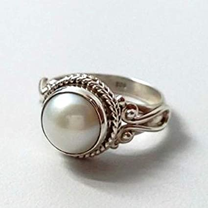 58fdbb078 Amazon.com: Ploymanee Jewelry Antique White Pearl Women Wedding Engagement  Ring 925 Silver Jewelry Size 6-10 (7): Home & Kitchen