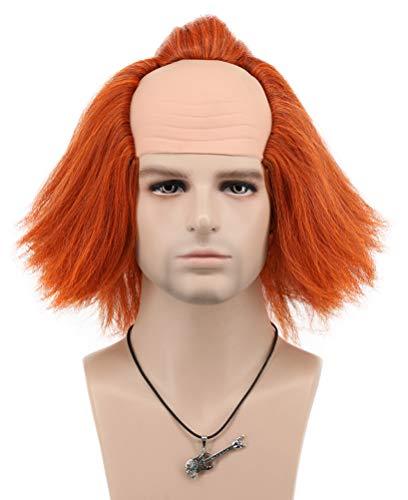 VGbeaty Women Men Short Bob Fluffy Orange Wave Clown Wig Halloween Cosplay Costume Anime Wig -