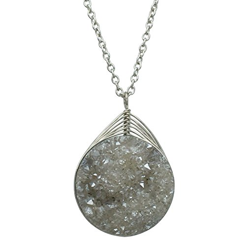 Gypsy Jewels Natural Stone Druzy Drusy Quartz Simple Small Dainty Boutique Chain Necklace - Assorted Colors (Grey Silver Tone)