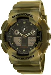Casio G-Shock Black Dial Resin Quartz Men's Watch GA100MM-5A