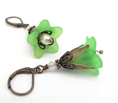 (Spring Green Flower Earrings Dangle Antiqued Gold-tone Dangle Trumpet Lily Lime Colorful Summer Spring Jewelry)