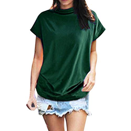 Adeliber Women's high Collar Casual Short-Sleeved Cotton Solid Color Shirt T-Shirt Tops Large Size Green