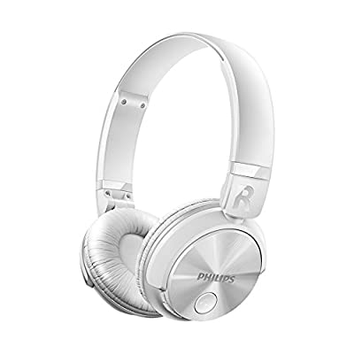 Philips SHB3060WT - Auriculares Bluetooth inalámbricos con sonido potente (manos libres, totalmente plegable) color blanco