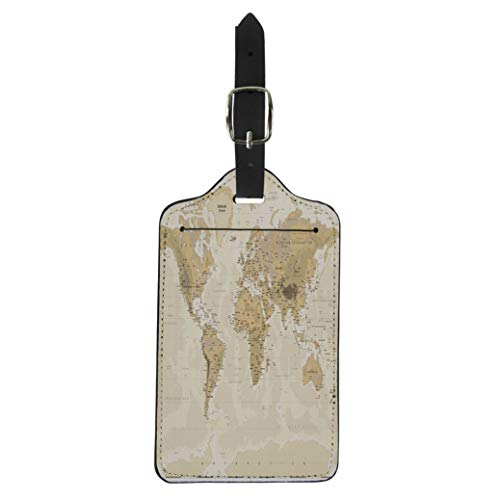 (Pinbeam Luggage Tag Brown Asia Vintage Physical World Map Yellow East Suitcase Baggage Label)