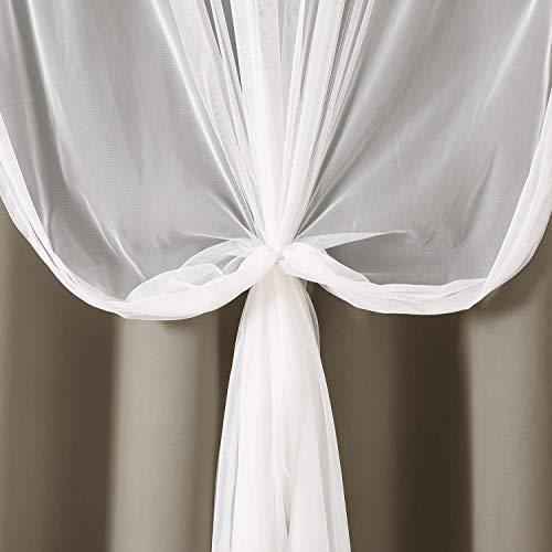 Deconovo Tende Oscuranti Termiche a Doppio Velo Tende Voile per Camera da Letto 2 Pannelli 140x260CM Cachi e Bianco