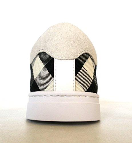 Bianco Tessuto Uomo Check Modello 4054022 Sneakers in Pelle Scarpe Burberry e gw7Ozc
