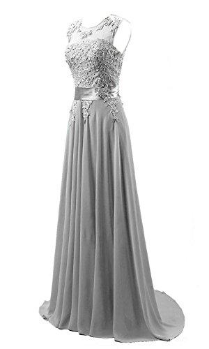 Abendkleid Damen Silber Edaier Formales Chiffon Lange Kleid vtFzqU