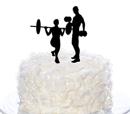 Couple Weightlifting Cake Topper, Wedding Cake Topper (Weightlifting Figurines)