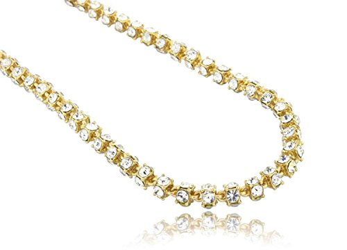 360 Four Diamond - 360 Degrees 4 Sided Iced Out CZ Chain - Gold - 30