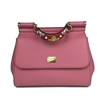 DOLCE & GABBANA Miss Sicily EMBELLISHED Handle Pink Dauphine Leather Medium Bag Handbag Purse Tote