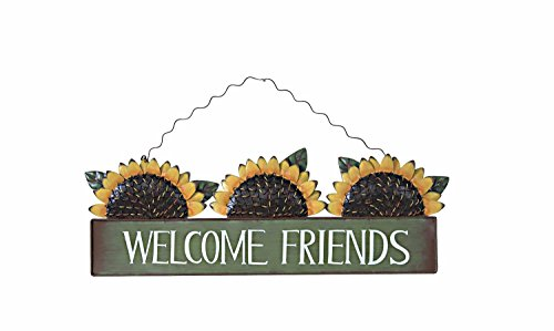 Metal Sunflower Welcome Sign ,Green
