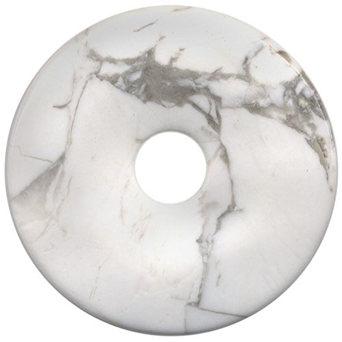 (40mm Natural Gemstone White Howlite Donut Pendant Semi Precious Gemstone Beads for Jewelry Making 2 Pieces (Inside 7mm))